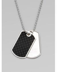 Gucci | Metallic Diamente Dogtag Necklace for Men | Lyst