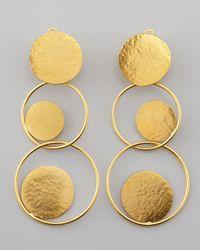 Herve Van Der Straeten - Metallic Hammered Gold Circle Drop Earrings - Lyst