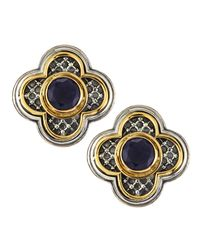 Konstantino | Metallic Iolite Clover Clipon Earrings | Lyst
