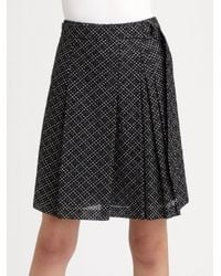 Akris Punto | Black Polka Dot Pleated Skirt | Lyst
