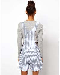 Glamorous - Blue Asos Short Denim Overalls In Candy Stripe - Lyst
