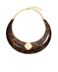 A.V. Max - Brown Patent Leather Tortoise Collar Necklace - Lyst