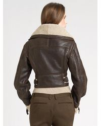 Burberry Prorsum - Brown Shearling Aviator Jacket - Lyst
