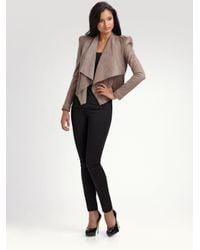 Camilla & Marc - Brown Drape Leather Jacket - Lyst