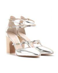 Chloé - Adelin Metallic Leather Block Heel Pumps - Lyst