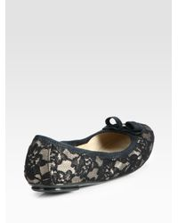 Ferragamo - Black My Belle Satin Lace Bow Ballet Flats - Lyst