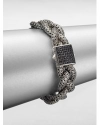 John Hardy | Gray Classic Chain Black Sapphire & Sterling Silver Medium Braided Bracelet | Lyst