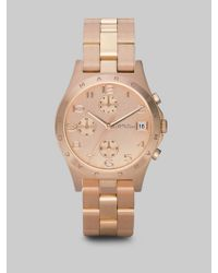 Marc By Marc Jacobs - Pink Henry Rose Goldtone Stainless Steel Chronograph Bracelet Watch - Lyst