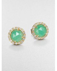Mija | Metallic Light Green Jade & White Sapphire Mini Button Earrings | Lyst