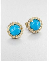 Mija | Blue Turquoise and White Sapphire Button Earrings | Lyst