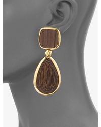 Oscar de la Renta | Brown Wood Drop Earrings | Lyst