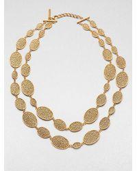 Oscar de la Renta - Metallic Oval Link Double Row Necklace - Lyst