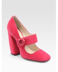 Prada - Pink Suede Mary Jane Pumps - Lyst