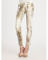 Roberto Cavalli - Natural Python Skinny Jeans - Lyst