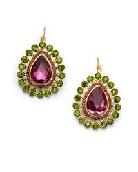 Sparkling Sage - Green Crystal Peacock Earrings - Lyst