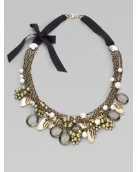 St. John - Green Faux Black Diamonds Semiprecious Bead Necklace - Lyst