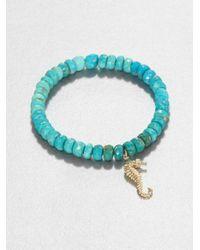 Sydney Evan | Blue Diamond 14k Yellow Gold Turquoise Beaded Stretch Bracelet | Lyst