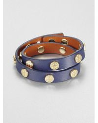 Tory Burch | Blue Double Wrap Logo Studded Leather Bracelet | Lyst