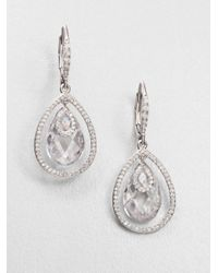 Adriana Orsini | Metallic Faceted Framed Drop Earrings/clear | Lyst