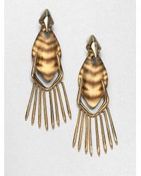Alexis Bittar - Metallic Tiger Striped Lucite Fringe Clipon Drop Earrings - Lyst