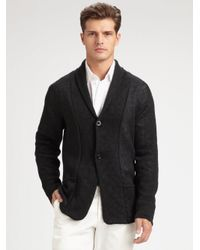 Armani | Black Shawl-collar Linen Cardigan for Men | Lyst