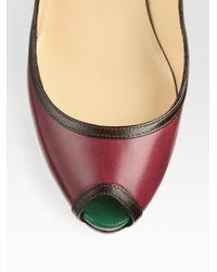 Christian Louboutin - Multicolor Minimi Colorblock Leather Peep Toe Platform Pumps - Lyst