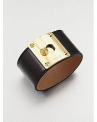 Fendi | Brown Lambskin Leather Cuff Bracelet | Lyst