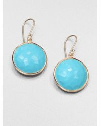 Ippolita | Blue Lollipop Turquoise & 18k Yellow Gold Large Drop Earrings | Lyst