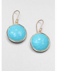 Ippolita - Blue Lollipop Turquoise & 18k Yellow Gold Large Drop Earrings - Lyst