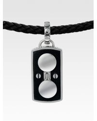 John Hardy - Black Silver Leather Dog Tag Pendant for Men - Lyst