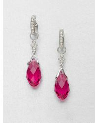 Jude Frances | Diamond Accented 14k White Gold Briolette Drop Earring Charmspink Quartz | Lyst