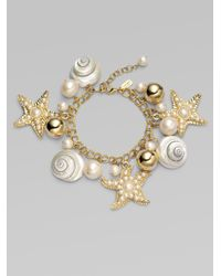 kate spade new york - Metallic Shell Bead and Faux Pearl Charm Bracelet - Lyst