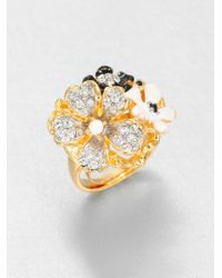 Kenneth Jay Lane | Metallic Enamel Flower Ring | Lyst