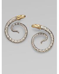 Konstantino - Metallic Sterling Silver 18k Yellow Gold Snake Earrings - Lyst