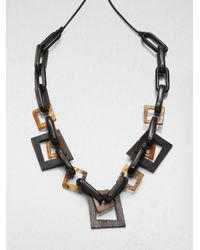 Lafayette 148 New York | Brown Wood Resin Leather Link Necklace | Lyst