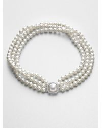 Majorica | Metallic 8mm White Pearl & Sterling Silver Triple-strand Necklace | Lyst