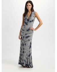 MICHAEL Michael Kors | Gray Tie-dyed Cowlneck Maxi Dress | Lyst