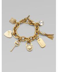 Michael Kors - Gray Stone Accented Charm Bracelet - Lyst