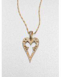 Mizuki | Metallic 14k Gold Diamond Heart Pendant Necklace | Lyst