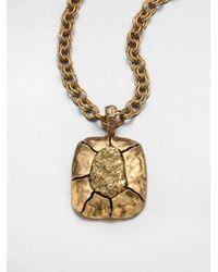 Oscar de la Renta - Brown Textured Pendant Necklace - Lyst