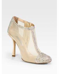 Oscar de la Renta | Natural Embellished Satin and Mesh Ankle Boots | Lyst