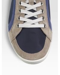 Prada - Blue Suede/nylon Sneakers for Men - Lyst