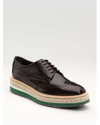 Prada | Black Tread Sole Oxfords | Lyst