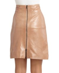 Robert Rodriguez - Brown Zip Leather Skirt - Lyst
