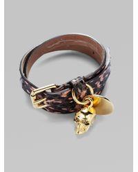 Alexander McQueen - Blue Optic Snake Skull Wrap Bracelet - Lyst