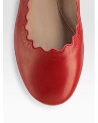 Chloé - Red Scalloped Ballet Flats - Lyst