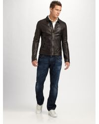 Dolce & Gabbana - Brown Washed Leather Jacket for Men - Lyst