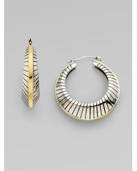 Elizabeth and James | Metallic Sterling Silver Fluted Hoop Earrings | Lyst
