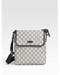 9403cf808b0 Lyst - Gucci Flap Messenger Bag in Blue for Men