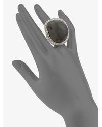 Isaac Mizrahi New York - Black Crystal Resin Rock Ring - Lyst
